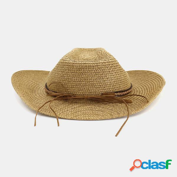 Hombre mujer gorra de jazz con protección solar tejida de paja retro al aire libre viaje informal transpirable sombrero