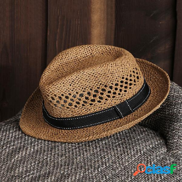 Hombre mujer summer straw knited sunscreen jazz cap al aire libre casual travel sea sombrero