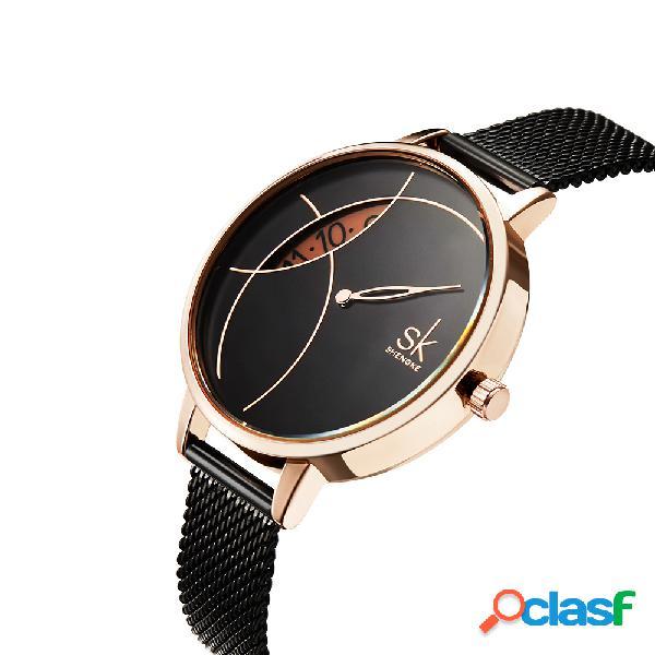 Forma creativa para los ojos mujer reloj giratorio hora giratoria marque mujer correa de acero completa mujer reloj de cuarzo