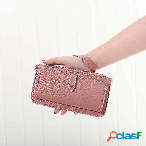 Mujer cuero sintético multifunción sólida cartera larga 12 ranuras para tarjetas teléfono embrague bolsa
