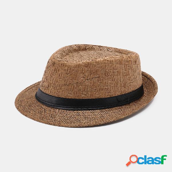 Hombre mujer gorra jazz con protección solar de papel al aire libre verano casual viaje transpirable sombrero