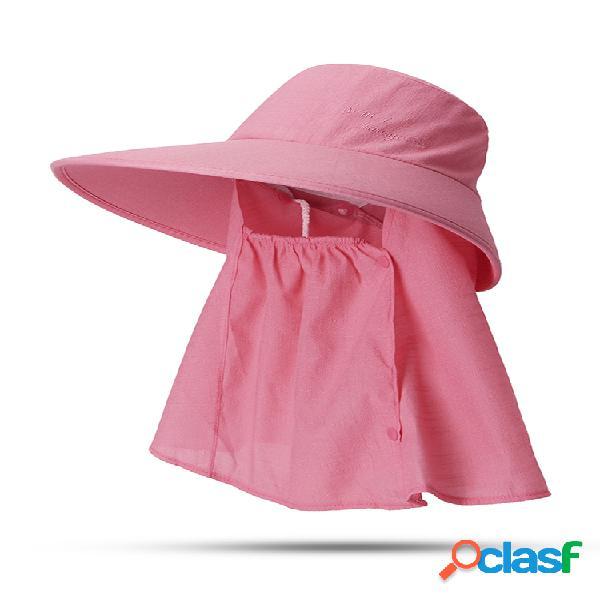 Mujer verano protector solar color sólido cara almizcle sombrero al aire libre casual removible sombrero