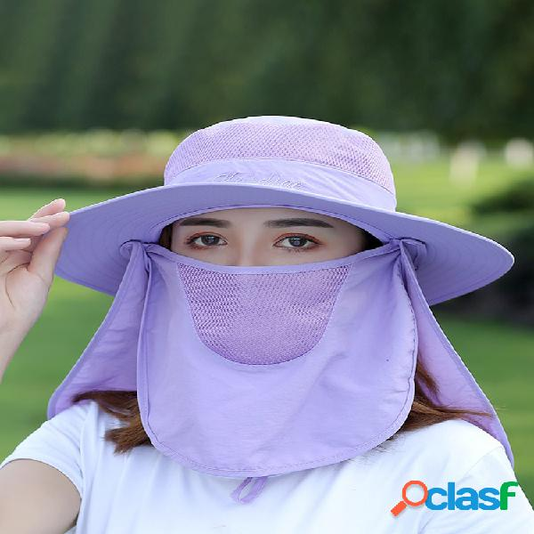 Cara de la cubierta del casquillo del sol del mantón de protección solar multifunción de color sólido para mujer