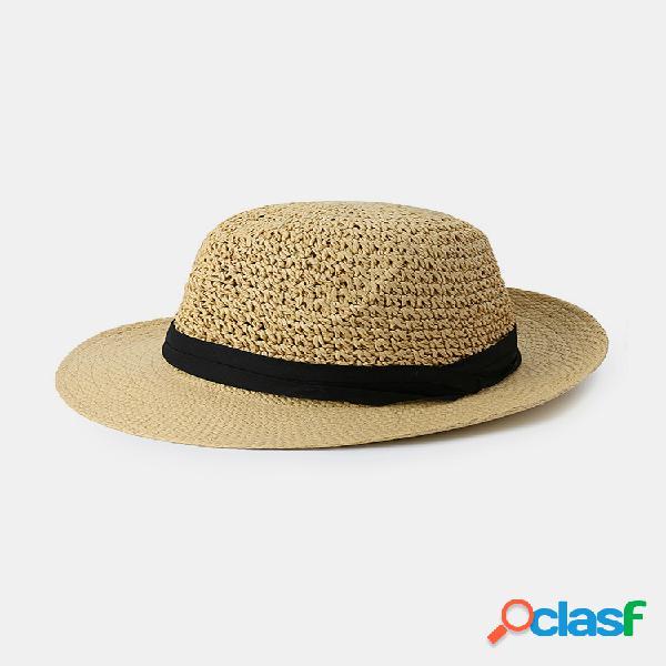 Hombre mujer gorra de jazz con protección solar tejida de paja al aire libre visera de viaje informal sombrero