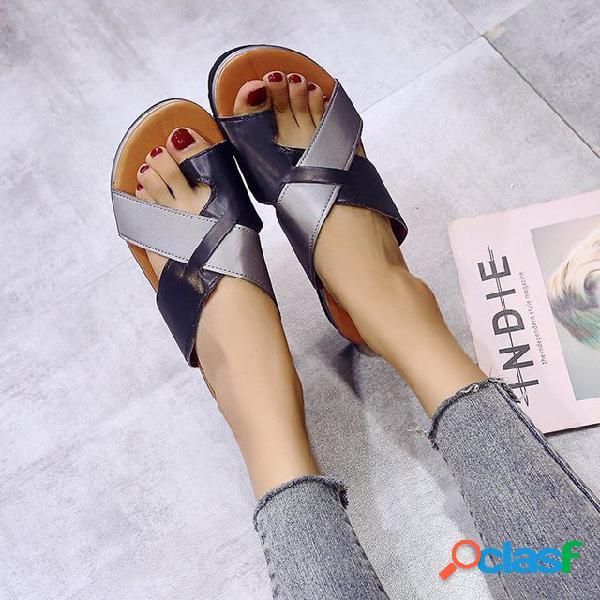 Wild mujer sandalias nuevo estudiante de moda zapatos planos cruz de mujer retro zapatos de mujer
