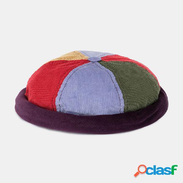 Hombre & mujer corduroy multicolor patchwork color patrón gorro casual landlord cap cráneo gorra
