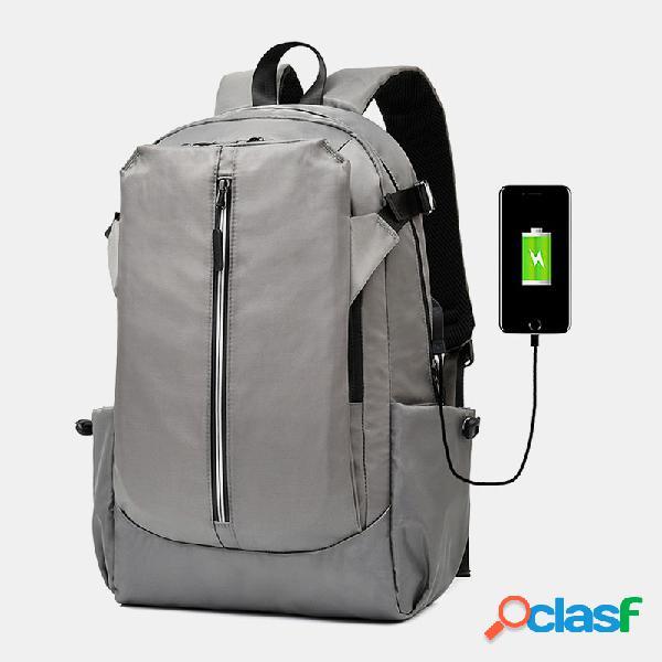 Hombre poliéster impermeable carga usb gran capacidad 15,6 inch laptop bolsa mochila
