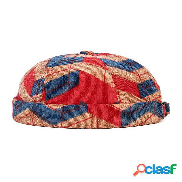 Collrown men & mujer corduroy irregular patchwork color patrón fashion casual brimless beanie landlord cap cráneo cap