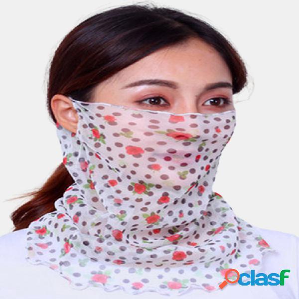 Mujer cara fina transpirable mascara velo de equitación abierto protector solar triángulo bufanda de seda cuello mascara