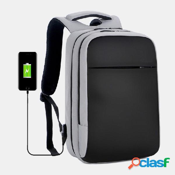 Hombres poliéster 15.6 inch carga usb impermeable business laptop bolsa mochila