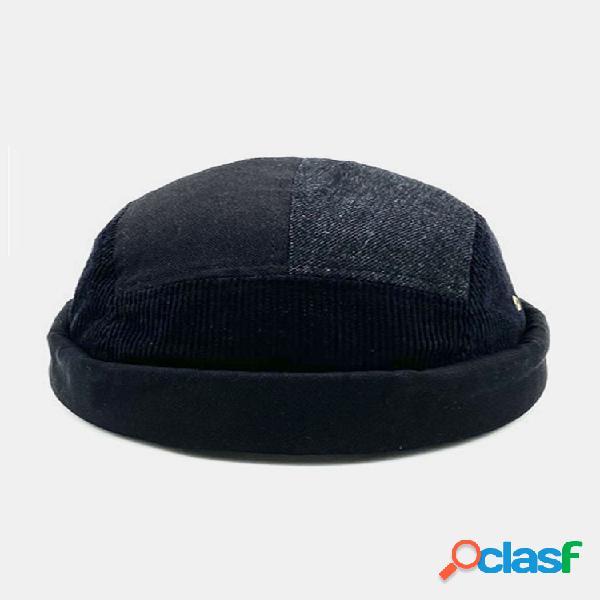 Hombres y mujer corduroy con costura de contraste de color sombrero para otoño sombrero sin aleros pure black landlord sombrero