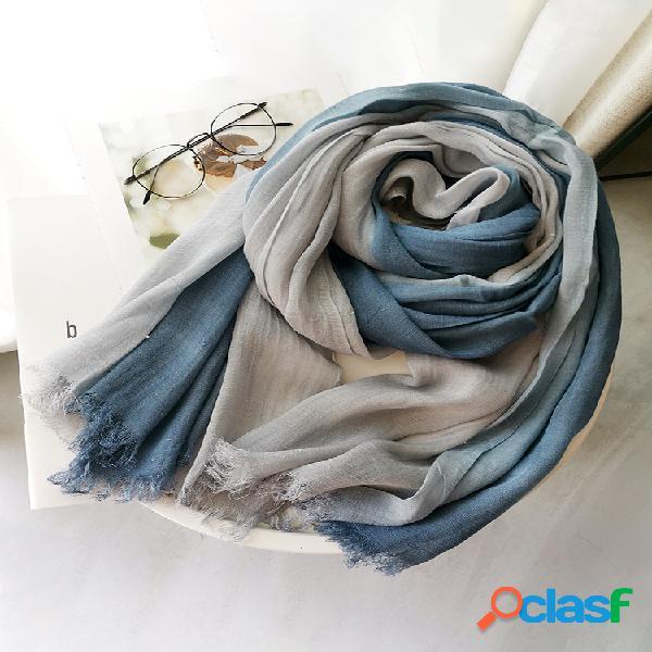 Bufanda de algodón y lino para mujer otoño e invierno color degradado a juego para mujer bosque mujer chal de hilo flameado