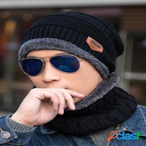 Hombre mujer invierno plus lana de punto cálido sombrero gorro informal sombrero traje de dos piezas con bufanda circular