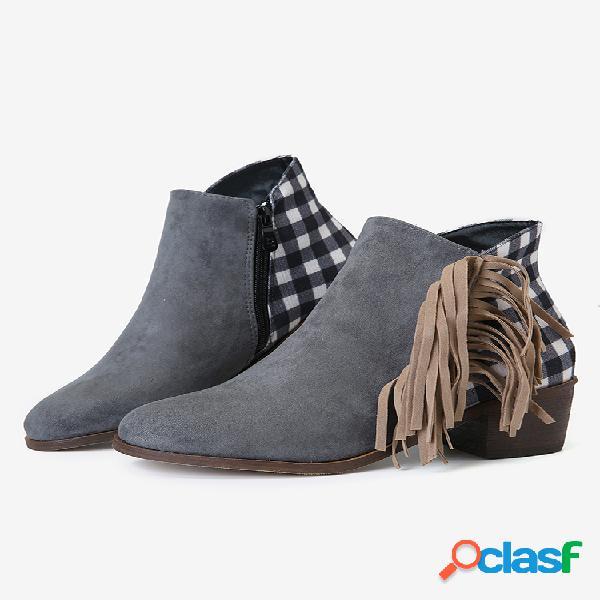 Tamaño grande mujer borla de empalme tacón grueso tobillo botas