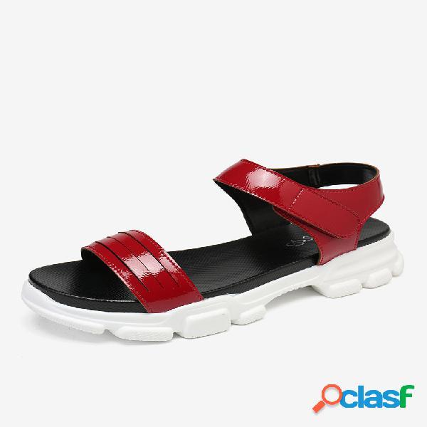 Lostisy mujer cómodo color sólido gancho deportivo con plataforma de bucle sandalias
