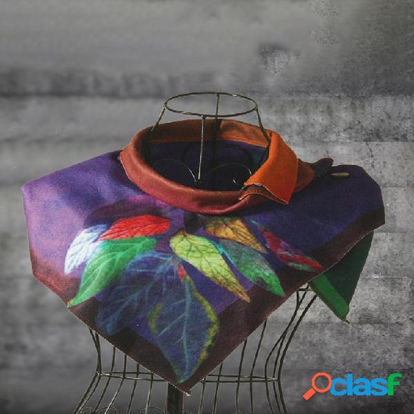 Mujer casual multicolor rayas redondas cuello bufandas y chales abrigo de ganchillo abotonado patrón