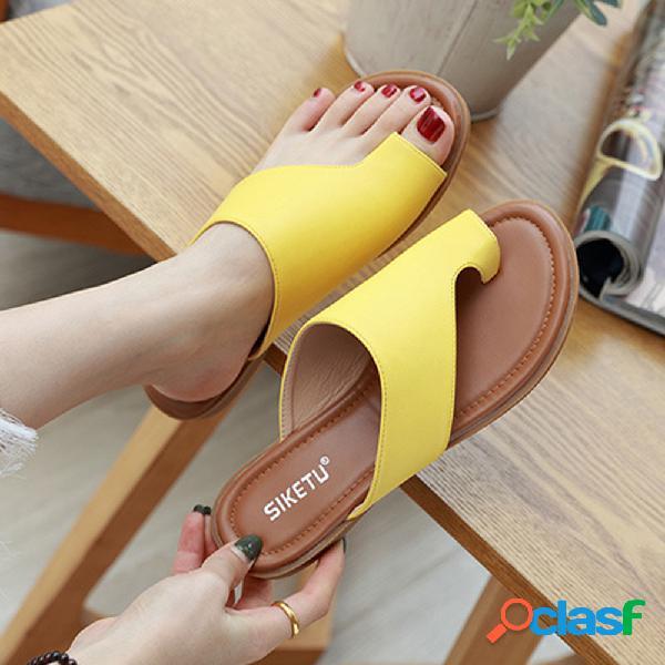 Mujer holiday playa toe ring cómodo flat casual sandalias