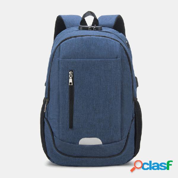 Mujer hombres sólidos impermeable escuela bolsa mochila de carga usb