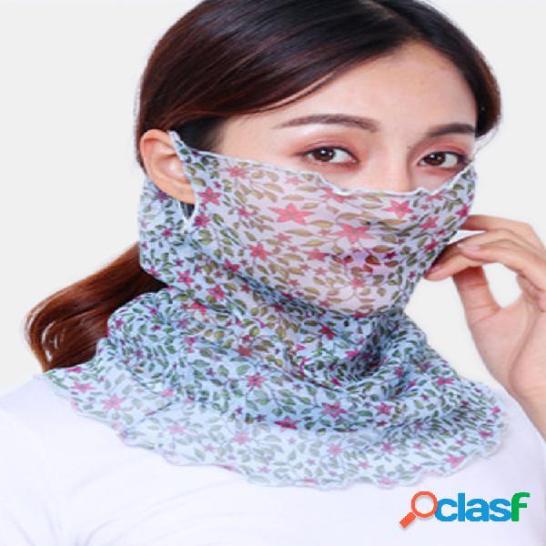 Mujer cara delgada transpirable mascara velo de equitación abierto protector solar triángulo bufanda de seda cuello mascara