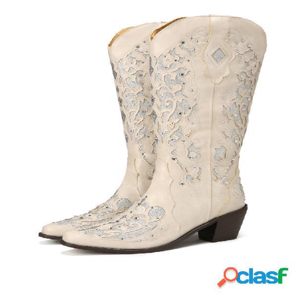 Lostisy mujer tamaño grande retro elegante diamante de imitación punta puntiaguda vaquero a media pierna botas