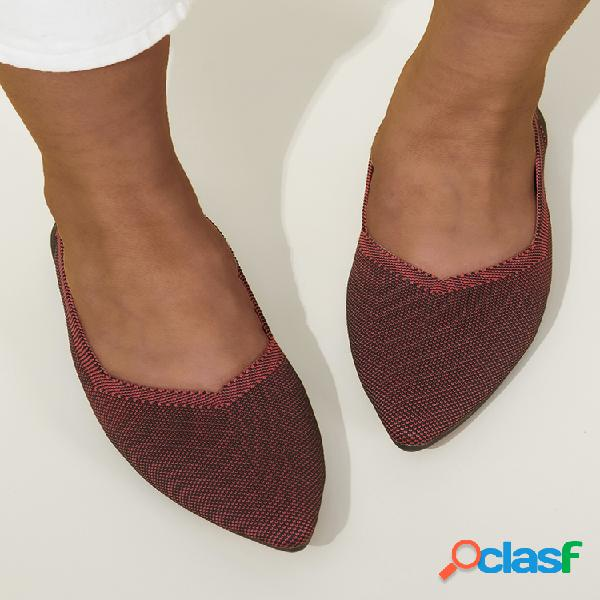Mujer casual sólido punta puntiaguda soft suela slip on flats