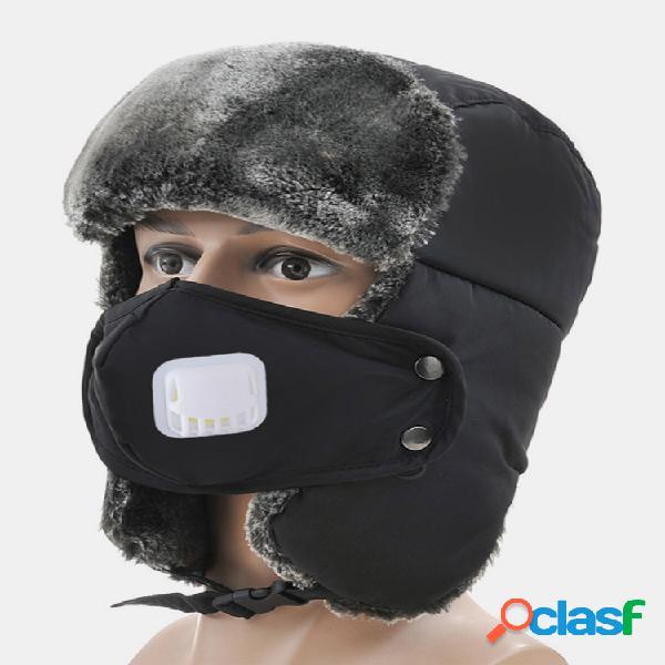 Hombres mujer invierno ancianos gruesos oreja cálidos gorros lei feng al aire libre esquí resistente al viento sombrero con válvula de respiración