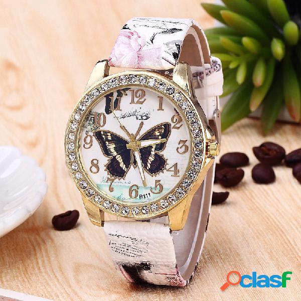 Moda mariposa flor gran número digital pulsera retro cuarzo mujer correa relojes para ella