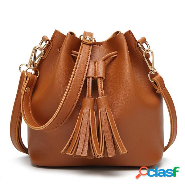 Mujer cuero de pu vendimia cubo de borla bolsa mini bandolera bolsa