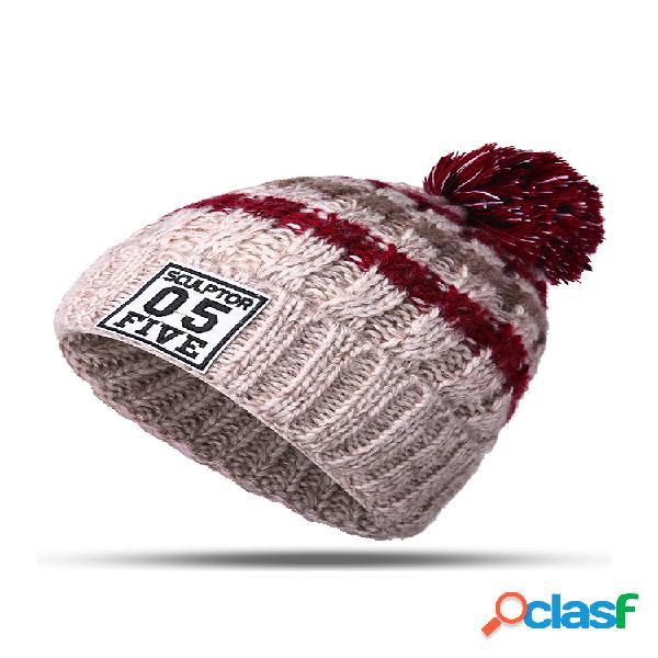 Mujer invierno sombrero bufandas guantes conjunto de pompón de algodón kintted sombreros cuello gorro grueso de rayas guantes