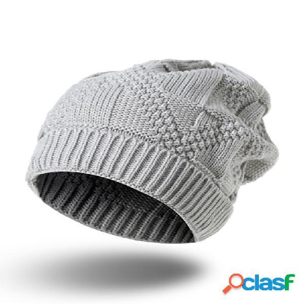 Mujer invierno cálido soft gorro de punto flexible sombrero al aire libre cabeza informal sombrero gorros de rayas de ocio