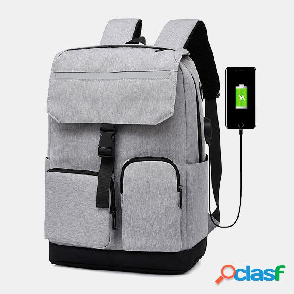 Hombre poliéster auricular agujero carga usb gran capacidad 15,6 inch laptop bolsa mochila