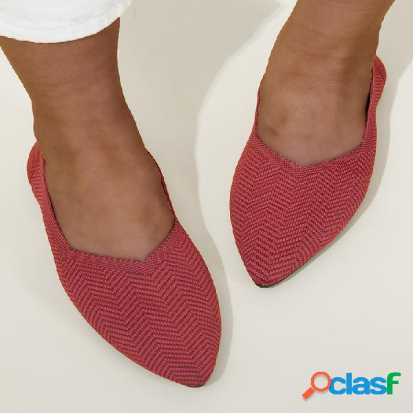 Mujer comfy chevron knitted punta puntiaguda soft sole slip on flats