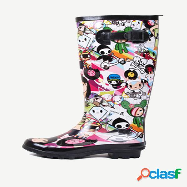 Mujer impermeable dibujos animados lluvia a media pantorrilla botas