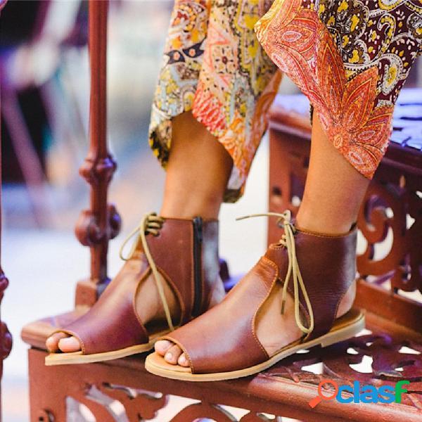 Mujer ahueca hacia fuera cómodo tamaño retro cremallera plana informal sandalias