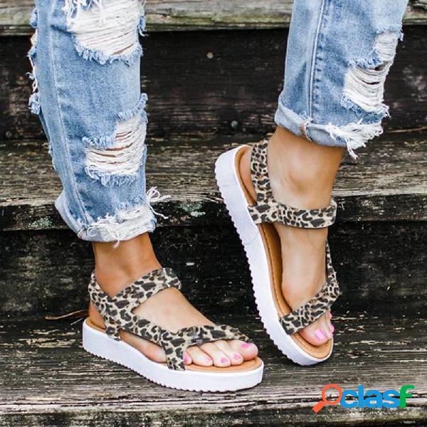 Tamaños grandes mujer leopardo color sólido gancho mocasines sandalias