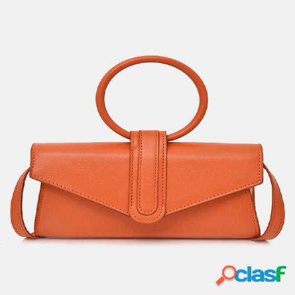 Mujer bolso cruzado color caramelo con anillo sólido bolsa bolso de mano