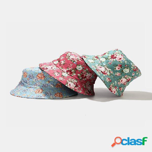 Mujer & hombres flor patrón cubo sombrero pescador sombrero