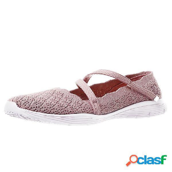 Mujer correa elástica de tejido de punto transpirable gancho zapatos casuales de bucle