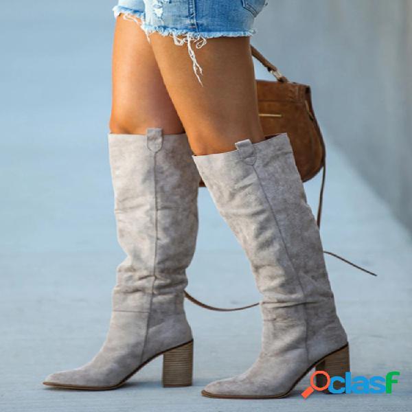 Plus talla mujer moda color sólido tacón alto rodilla botas
