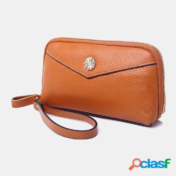 Mujer cuero pu 3 ranuras para tarjetas teléfono de 6.3 pulgadas bolsa monedero con clip para dinero
