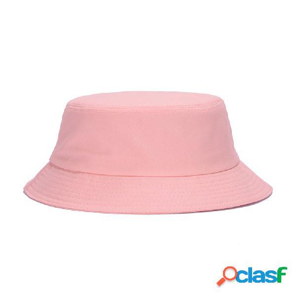Mujer verano algodón sólido patrón cubo sombrero sombrilla informal transpirable playa sombrero