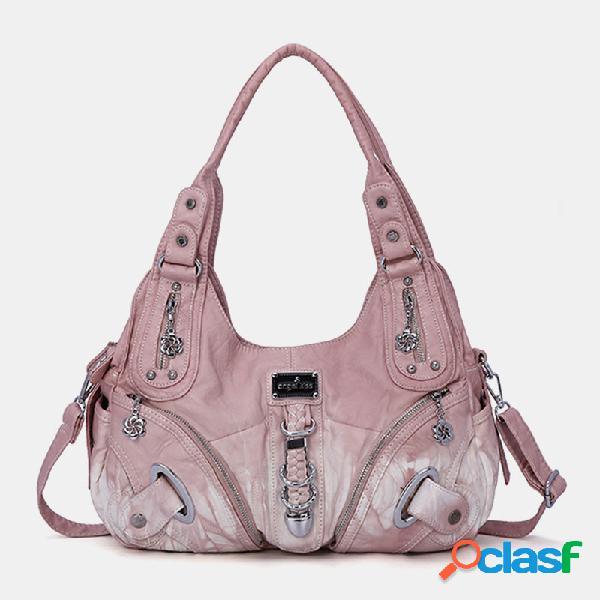 Mujer bolso gradiente soft bandolera de cuero bolsa
