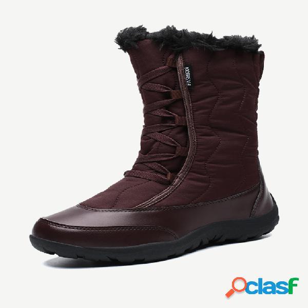 Lostisy mujer invierno cálido felpa impermeable algodón con cordones mediados de pantorrilla nieve botas