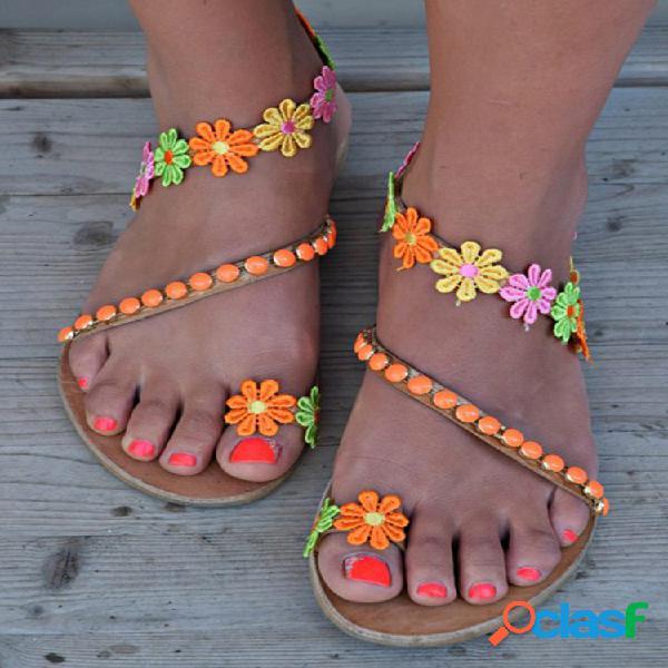 Mujer flores envolver alrededor del tobillo cómodo clip toe plano sandalias