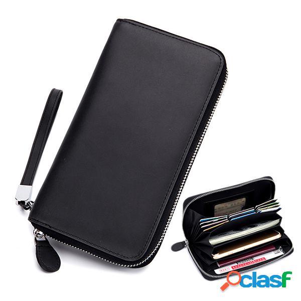 Piel genuina multifuncional multifuncional 6 inch teléfono bolsa embrague bolsa cartera larga para mujer hombres