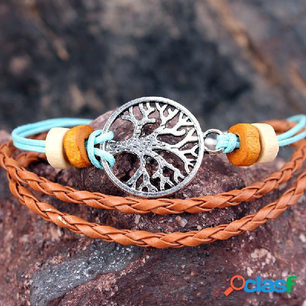 Vendimia tree of life encanto pulsera de cera cuerda pulseras ajustables con cuentas de madera para mujer hombres
