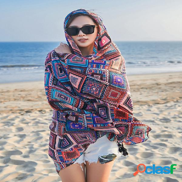 Mujer verano vendimia moda multiusos bufanda colgante de algodón y lino con estampado al aire libre playa bufanda