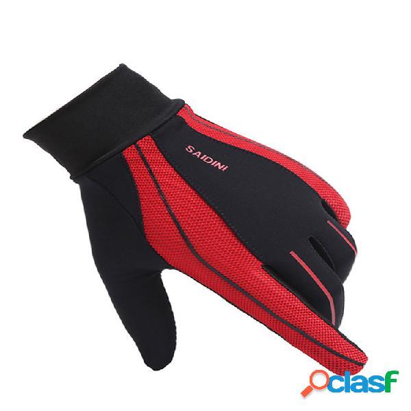 Hombre mujer verano pantalla táctil de malla transpirable ciclismo guantes al aire libre pesca guantes