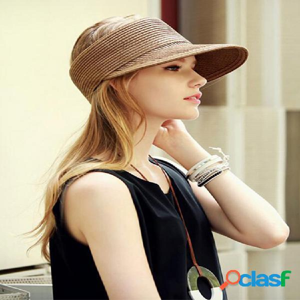 Sombreros de paja de moda para mujer, raya patrón, transpirable, flexible, de ocio, sombrero de copa vacío