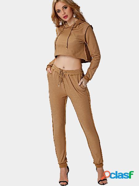 Hoodie de la cosecha y pantalones de la cintura del lazo co-ord